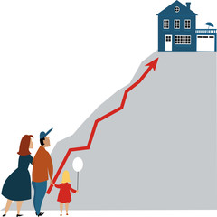 Young family looking at a dream home at the top of a steep hill, raising graph connects them, as a metaphor for housing market or price, EPS 8 vector illustration