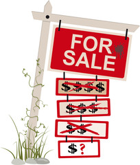 """For sale"" sign with multiple tags showing a reduced price, EPS 8 vector illustration, isolated"