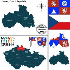 Map of Liberec, Czech Republic