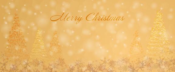 Christmas time. Christmas trees and snowflakes. Text : Merry Christmas.