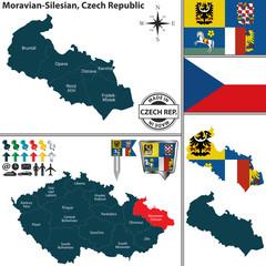 Map of Moravian Silesian, Czech Republic