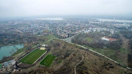 Nyergesújfalu and surrounding areas, birdseye view