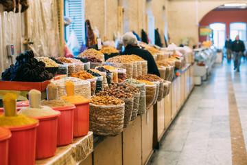 Tbilisi, Georgia. Market Bazar Abundant Counter Of Fragrant Spic