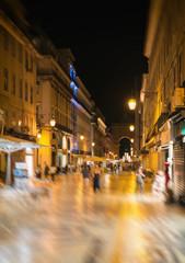 Night street at Lisbon. Rua dos Sapateiros.