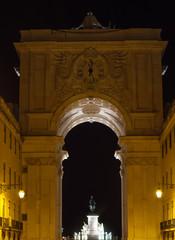 Triumphal Rua Augusta Arch in Lisbon at night.