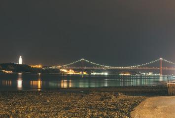 Bridge of 25th april in Lisbon at night.