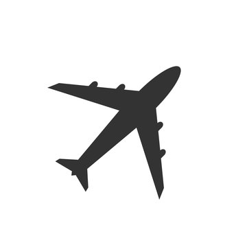 Airplane icon, black isolated on white background, vector illustration.