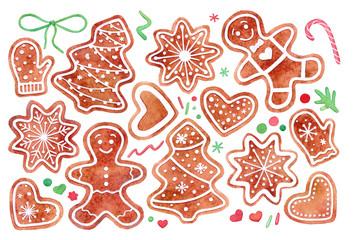 Gingerbread cookies Christmas watercolor set