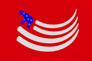 Illustration resembling American flag of tusks and elephant.