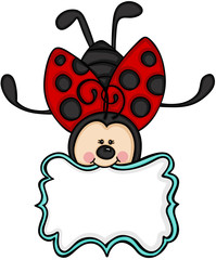 Cute ladybug with blank label sticker