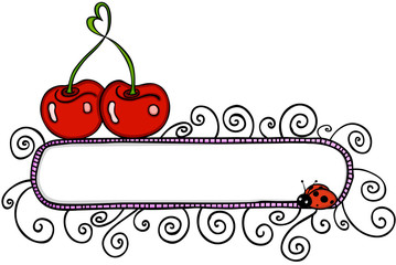 Love cherry with blank banner and ladybird