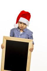 little boy with santa hat