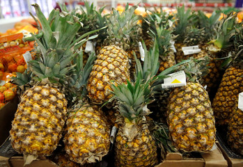 Pineapples are displayed for sale, as the holiday shopping season kicks off with 'El Buen Fin' (The Good Weekend), at a Sam's Club store, in Mexico City
