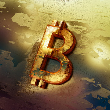 Bitcoin cryptocurrency crackdown threat, 3D illustration
