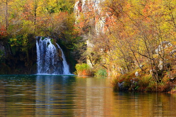 Plitvice lakes, World famous National park in Croatia, UNESCO heritage, waterfalls in autumn