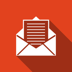 Mail and e-mail icon isolated with long shadow. Envelope symbol e-mail. Email message sign. Flat design. Vector Illustration