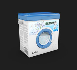 3d Illustration of Washing powder box advertisement, box in the form of a washing machine