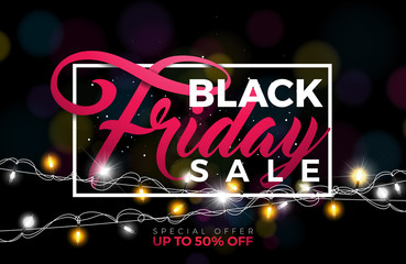 Black Friday Sale Vector Illustration with Lighting Garland on Dark Background. Promotion Design Template for Banner or Poster.