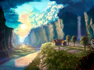 digital illustration of dreamland beautiful landscape environment with hut cottage