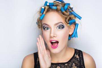 blue hair curlers