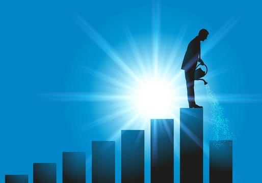 Concept de l'évolution de carrière avec un homme qui grimpe un escalier petit à petit, en arrosant la marche suivante pour lui permettre d'atteindre la place de leader.