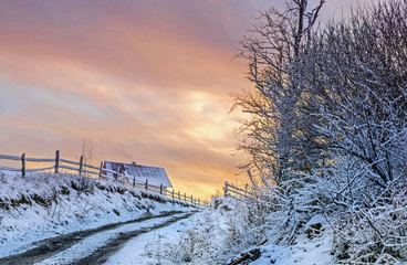Wall Mural - Fantastic winter sunset landscape