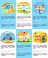 Indian Independence Day Posters with Text Set