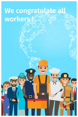 We Congratulate All Workers Greeting Postcard