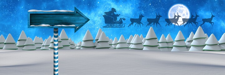 Wooden signpost in Christmas Winter landscape and Santa's sleigh