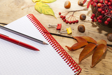 notepad on the spring and pens,  wooden countertop,  autumn still-life