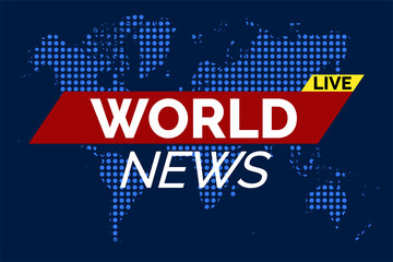 World news illustration vector on blue dotted world map background