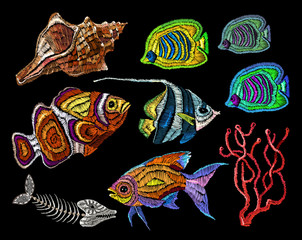 Embroidery sea life collection. Sea shells, corals, tropical fishes. Fashionable clothes. Classical embroidery tropical sea, wave, fishes, corals, shells. Fashionable template for design of clothes