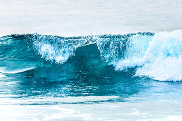 transparent blue wave texture close up
