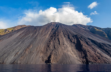 North side of active volcano Stromboli, Italy, with Sciara del Fuoco photographed from a boat.