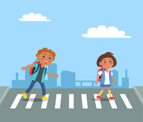 Cheerful Kids with Red Rucksacks Crossing Road