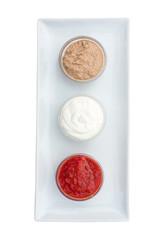 glass bowl of sauces