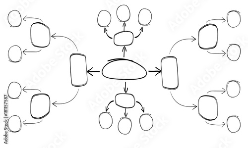 Sketched outline black VECTOR mind mapping template.\