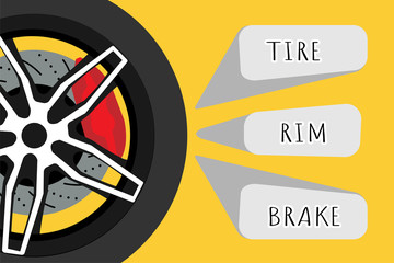 Black racing wheel with disk brake and red caliper on yellow background with grey banners. Automotive parts concept. Vector illustrator design. EPS10