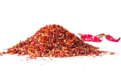 Red pepper powder on a pile isolated