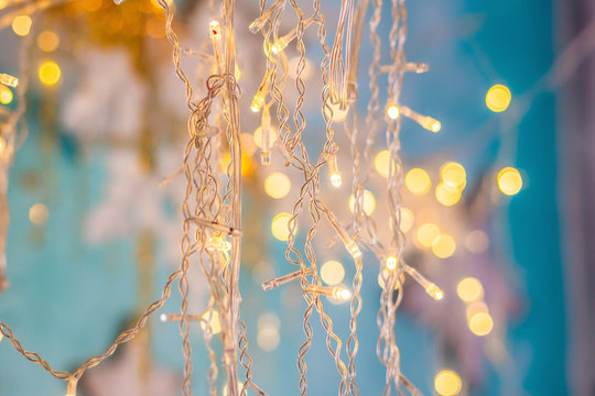 Bright Christmas background, New Year lights garlands