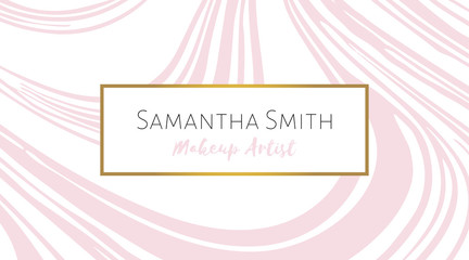 Makeup artist Business card with pink marble texture. Abstract modern background. Vector template for card, invitation, business, vip, flyer, logo, brochure