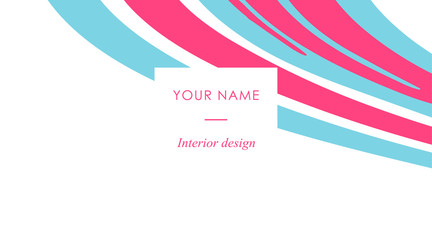 Abstract business card tamplate with liquid lines. Marble effect. Vector illustration. Vector design concept. For stylist, makeup artist, photographer. Stylish elegant pink and blue business card.