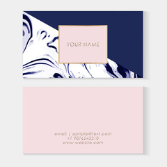 Set of Business cards template. Elegant vector template Business cards with blue marble texture and pink frame with golden element and place for text.