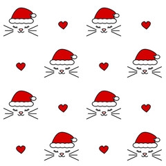 cute lovely christmas seamless vector pattern background illustration with cats with santa's hat and hearts