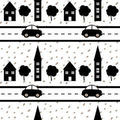 hand drawn confetti on white background simple abstract seamless vector pattern illustration with black houses, trees, road and car