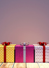 Christmas presents with empty wall background 3D Rendering