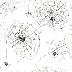 Watercolor seamless pattern with black spider and web