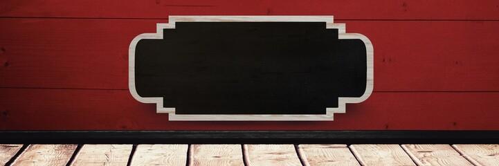 Blackboard sign on wood