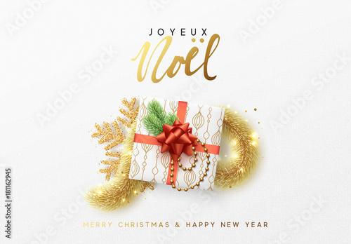 Merry christmas greeting card xmas holiday background gift box merry christmas greeting card xmas holiday background gift box with gold tinsel and bright m4hsunfo