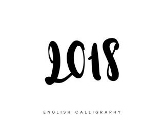 2018 New Year lettering. Vector calligraphy text.